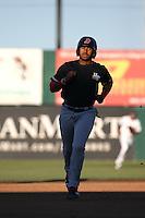 Josh Morgan (3) of the High Desert Mavericks runs the bases during a game against the Lancaster JetHawks at The Hanger on April 16, 2016 in Lancaster, California. Lancaster defeated High Desert, 3-2. (Larry Goren/Four Seam Images)