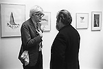 "David Hockney and Peter Blake at the Hockney private view ""Recent Etchings"" at the Kasmin Gallery Bond Street London. 1969"