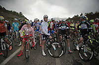 The stage will be continued neutralised over the slippery roads until weather (and road) conditions get better.<br /> Riders gather to start riding again after the race was stopped for about half an hour.<br /> Mark Cavendish (GBR/OPQS) on the first row.<br /> <br /> Tour of Turkey 2014<br /> stage 4