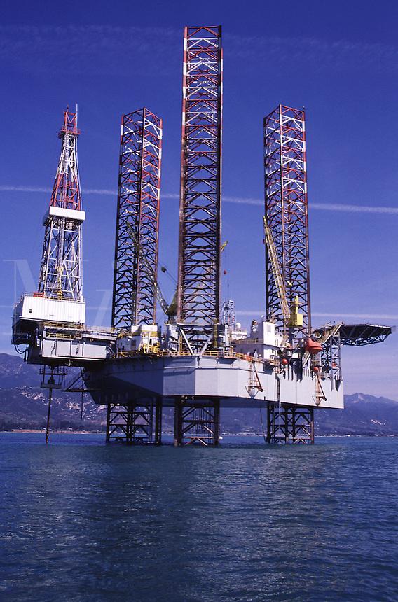 Jack-up oil drilling rig,.Santa Barbara, CA.