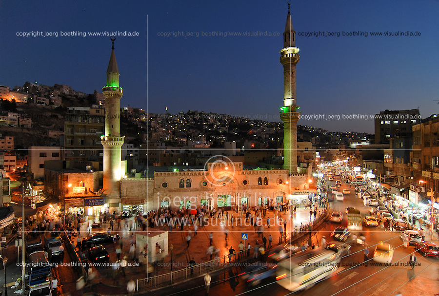 JORDAN, Amman, Al Hussein mosque in downtown / JORDANIEN, Amman, Al Hussein Moschee in der Altstadt