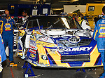 Martin Truex Jr.'s, driver of the (56) NAPA Auto Parts Toyota, pit crew works on his car during the Samsung Mobile 500 Sprint Cup race at Texas Motor Speedway in Fort Worth,Texas.