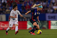 11th Mach 2020, Frisco, Texas, USA;  Yuka Momiki of Japan against Julie Ertz of the USA right during the 2020 SheBelieves Cup Womens International Friendly,  football match between USA Women versus Japan Women at Toyota Stadium in Frisco, Texas, USA.