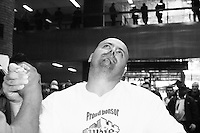"""Chris Perka waits for his match to begin at the Empire State Finals at the Port Authority Bus Terminal in New York City on November 17, 2005.  The Empire State Finals is the culmination in the year of the New York City Arm Wrestling Association's """"Golden Arm Series""""."""
