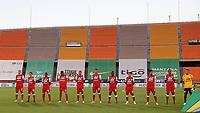 MEDELLÍN - COLOMBIA, 17-01-2021:Jugadores del Independiente Santa Fe posan para una foto previo al partido entre Atlético Nacional  y el Independiente Santa Fe por la fecha 1 de la Liga BetPlay DIMAYOR 2021 jugado en el estadio Atanasio Girardot de la ciudad de Medellín. / Players of Independiente Santa Fe pose to a photo prior match for the date 1 as part of BetPlay DIMAYOR League 2021 between Atletico Nacional  and Independiente Santa Fe played at Atanaso Girardot stadium in Medellin  city.  Photo: VizzorImage / Juan Augusto Cardona / Contribuidor