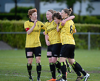 20140502 - VARSENARE , BELGIUM : Lierse pictured celebrating the 0-1 lead with Lien Mermans (l) , Silke Leynen , Tinne Van Den Bergh and Yana Daniels (r) during the soccer match between the women teams of Club Brugge Vrouwen  and WD Lierse SK  , on the 26th matchday of the BeNeleague competition on Friday 2 May 2014 in Varsenare .  PHOTO DAVID CATRY