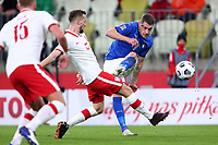 11th October 2020, The Stadion Energa Gdansk, Gdansk, Poland; UEFA Nations League football, Poland versus Italy; Tomasz Kedziora cannot top the shot from Andrea Belotti