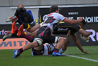 Julian Savea scores during the Mitre 10 Cup rugby match between Wellington Lions and North Harbour at Sky Stadium in Wellington, New Zealand on Saturday, 17 October 2020. Photo: Dave Lintott / lintottphoto.co.nz