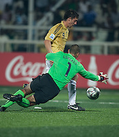 Earl Edwards (1) tries to make the save against Borjas (9).. Spain defeated the U.S. Under-17 Men National Team  2-1 at Sani Abacha Stadium in Kano, Nigeria on October 26, 2009.