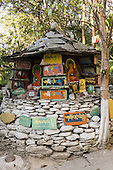 Dharamsala, Himachal Pradesh, India. A Buddhist shrine in the grounds of the Norbulingka Tibetan Institute.