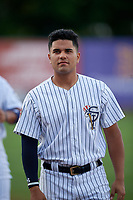 Staten Island Yankees Carlos Narvaez (24) before a NY-Penn League game against the Aberdeen Ironbirds on August 22, 2019 at Richmond County Bank Ballpark in Staten Island, New York.  Aberdeen defeated Staten Island 4-1 in a rain shortened game.  (Mike Janes/Four Seam Images)