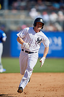 New York Yankees center fielder Jeff Hendrix (38) runs the bases during a Grapefruit League Spring Training game against the Toronto Blue Jays on February 25, 2019 at George M. Steinbrenner Field in Tampa, Florida.  Yankees defeated the Blue Jays 3-0.  (Mike Janes/Four Seam Images)