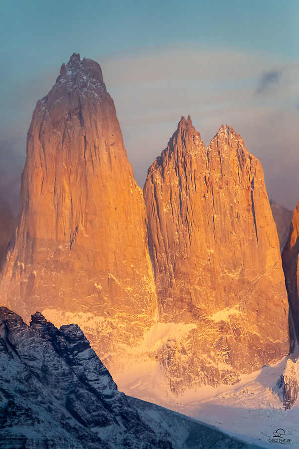 """Two of the three towers that give Torres del Paine (""""Towers of Blue"""") it's name. Got some nice morning light on them on a clear day. See we do landscapes too lol."""