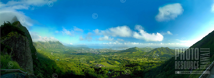 Panormaic view of windward Oahu from the Pali lookout.