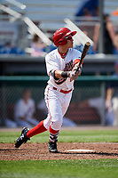 Auburn Doubledays right fielder Ricardo Mendez (17) follows through on a swing during a game against the Batavia Muckdogs on June 17, 2018 at Falcon Park in Auburn, New York.  Auburn defeated Batavia 10-8.  (Mike Janes/Four Seam Images)