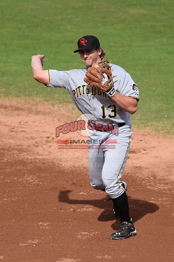 Scottsdale Scorpions infielder Dan Gamache (13) during an Arizona Fall League game against the Peoria Javelinas on October 18, 2014 at Surprise Stadium in Surprise, Arizona.  Peoria defeated Scottsdale 4-3.  (Mike Janes/Four Seam Images)