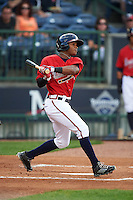 Mississippi Braves outfielder Mallex Smith (1) at bat during a game against the Pensacola Blue Wahoos on May 28, 2015 at Trustmark Park in Pearl, Mississippi.  Mississippi defeated Pensacola 4-2.  (Mike Janes/Four Seam Images)
