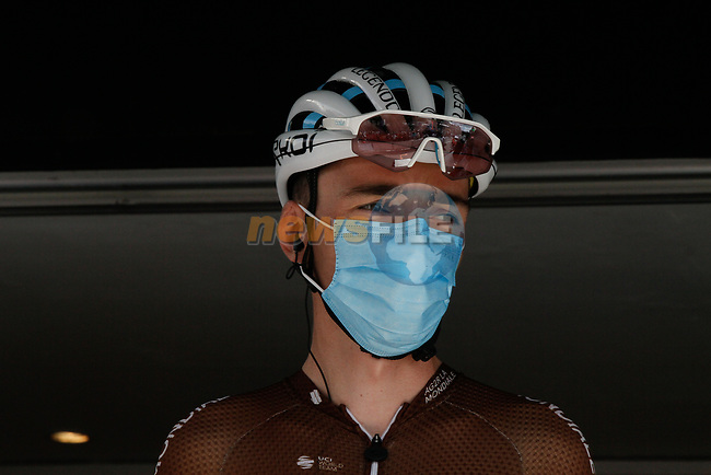Romain Bardet (FRA) AG2R La Mondiale at sign on before Stage 3 of the Route d'Occitanie 2020, running 163.5km from Saint-Gaudens to Col de Beyrède, France. 3rd August 2020. <br /> Picture: Colin Flockton   Cyclefile<br /> <br /> All photos usage must carry mandatory copyright credit (© Cyclefile   Colin Flockton)
