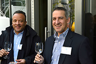 Tasting wine at an event for industry professionals.