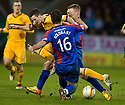 MOTHERWELL'S JAMIE MURPHY IS STOPPED BY CALEY'S ROMAN GOLABART AND JONNY HAYES..14/01/2012 sct_jsp015_motherwell_v_ict     .Copyright  Pic : James Stewart.James Stewart Photography 19 Carronlea Drive, Falkirk. FK2 8DN      Vat Reg No. 607 6932 25.Telephone      : +44 (0)1324 570291 .Mobile              : +44 (0)7721 416997.E-mail  :  jim@jspa.co.uk.If you require further information then contact Jim Stewart on any of the numbers above.........