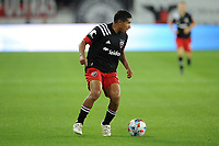 WASHINGTON, DC - MAY 13: Edison Flores #10 of D.C. United moves the ball during a game between Chicago Fire FC and D.C. United at Audi FIeld on May 13, 2021 in Washington, DC.