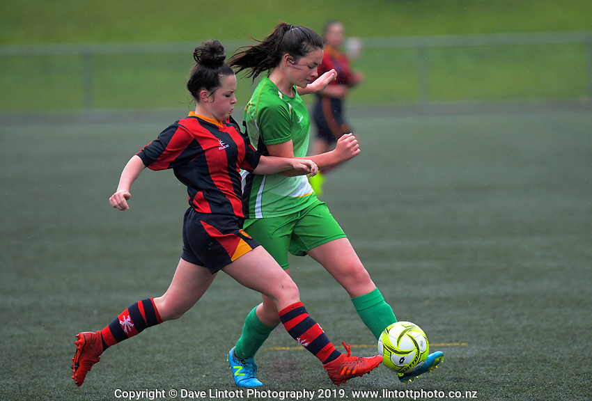 Action from the 2019 Grant Jarvis NZ Secondary Schools Girls' 1st XI football tournament match between Hawera High School and Golden Bay High School at Wakefield Park in Wellington, New Zealand on Thursday, 5 September 2018. Photo: Dave Lintott / lintottphoto.co.nz