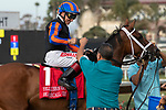 DEL MAR, CA  AUGUST 3: #1 Beau Recall, ridden by Drayden Van Dyke, receive congratulations from the connections after winning the Yellow Ribbon Handticap (Grade ll) on August 3, 2019, at Del Mar Thoroughbred Club in Del Mar, CA..  (Photo by Casey Phillips/Eclipse Sportswire/CSM)