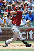 Arizona Diamondbacks shortstop Stephen Drew #6 swings at a pitch during a game against the Chicago Cubs at Wrigley Field on July 15, 2012 in Chicago, Illinois. The Cubs defeated the Diamondbacks 3-1. (Tony Farlow/Four Seam Images).