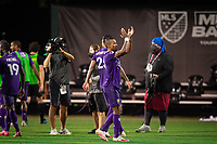 LAKE BUENA VISTA, FL - JULY 31: Nani #17 of Orlando City SC celebrate a win during a game between Orlando City SC and Los Angeles FC at ESPN Wide World of Sports on July 31, 2020 in Lake Buena Vista, Florida.
