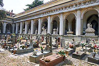 Pictures of the stone sculptured monumental tombs of the Staglieno Monumental Cemetery, Genoa, Italy