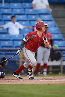 Altoona Curve second baseman Kevin Kramer (37) follows through on a swing during a game against the Binghamton Rumble Ponies on May 17, 2017 at NYSEG Stadium in Binghamton, New York.  Altoona defeated Binghamton 8-6.  (Mike Janes/Four Seam Images)