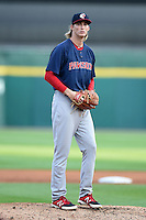 Pawtucket Red Sox pitcher Henry Owens (37) gets ready to deliver a pitch during a game against the Buffalo Bisons on August 26, 2014 at Coca-Cola Field in Buffalo, New  York.  Pawtucket defeated Buffalo 9-3.  (Mike Janes/Four Seam Images)