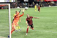 ATLANTA, GA - AUGUST 22: Joe Willis #1 gathers a crossed ball during a game between Nashville SC and Atlanta United FC at Mercedes-Benz Stadium on August 22, 2020 in Atlanta, Georgia.