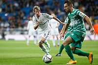 Real Madrid´s Fabio Coentrao (L)  during Spanish King Cup match between Real Madrid and Cornella at Santiago Bernabeu stadium in Madrid, Spain.December 2, 2014. (NortePhoto/ALTERPHOTOS/Victor Blanco)