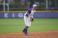 High Point Panthers shortstop Conner Dunbar (24) on defense against the Campbell Camels at Williard Stadium on March 16, 2019 in  Winston-Salem, North Carolina. The Camels defeated the Panthers 13-8. (Brian Westerholt/Four Seam Images)