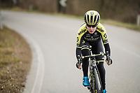 Amanda Spratt (AUS/Mitchelton-Scott) at race reconnaissance 1 day prior to the 13th Strade Bianche 2019 (1.UWT)<br /> One day race from Siena to Siena (184km)<br /> <br /> ©kramon