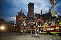 John Degenkolb (DEU/Giant-Alpecin) & Giacomo Nizzolo (ITA/Trek-Segafredo) racing into the night<br /> <br /> Post-Tour Criterium Mechelen (Belgium) 2016