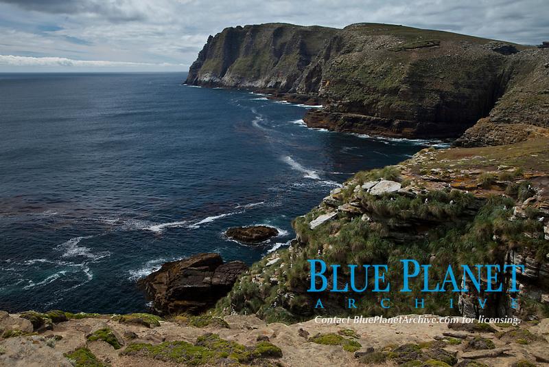 Tall seacliffs overlook the southern Atlantic Ocean