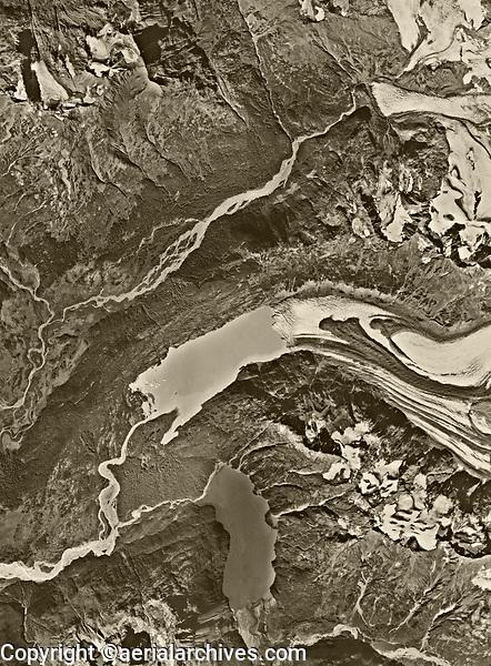 aerial photo nap of Portage Glacier and 20 Mile Glacier, both receding substantially, Alaska near Anchorage