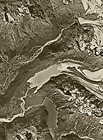 aerial photo nap of Portage Glacier and 20 Mile Glacier, both receding substantially, Alaska near Anchorage