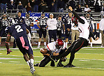 San Diego State's Chance Marden kicks a game tying field goal, which forced the game into overtime during the second half of an NCAA college football game in Reno, Nev., on Saturday, Oct. 20, 2012. (AP Photo/Cathleen Allison)