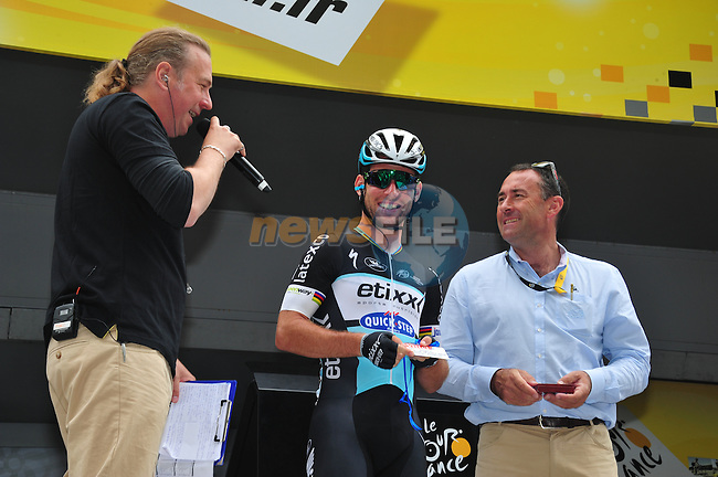 Yesterday's stage winner Mark Cavendish (GBR) Etixx-Quick Step on the podium before the start of Stage 8 of the 2015 Tour de France running 181.5km from Rennes to Mur de Bretagne, France. 10th July 2015.<br /> Photo: ASO/B.Bade/Newsfile