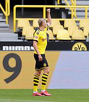 16th May 2020, Signal Iduna Park, Dortmund, Germany; Bundesliga football, Borussia Dortmund versus FC Schalke;   BVB Erling Haland celebrates his goal for 1:0