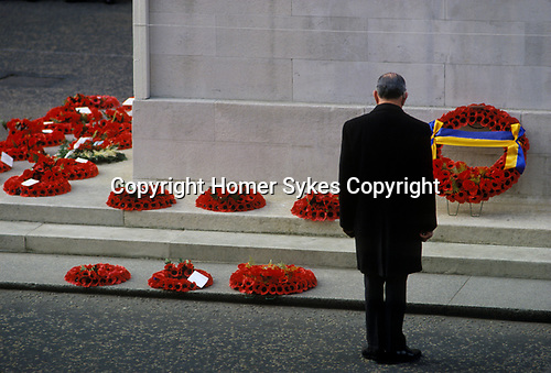 Remembrance Day Sunday at the Cenotaph Whitehall London England UK. 1980s 80s UK
