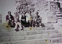 BNPS.co.uk (01202 558833)<br /> Pic: Omega/BNPS<br /> <br /> George with Patti Boyd and Ravi Shankar visiting some ruins.<br /> <br /> Never before seen photographs of George Harrison's spiritual trip to India that influenced the rest of The Beatles to later visit have been unearthed over 50 years later.<br /> <br /> The late Beatle found the 1966 pilgrimage to the sub-continent liberating and persuaded the rest of the band to go back with him 18 months later.<br /> <br /> Their famous visit and stay with the Maharishi Mahesh Yogi's yoga retreat had a significant influence in the music the Fab Four went on to  produce.<br /> <br /> The six colour faded photos show George with his wife Patti Boyd with sitar player Ravi Shankar and friends sitting among ancient ruins and a selfie of him on a beach.<br /> <br /> Being sold alongside the snaps is a quilted orange jacket that George wore in India and left behind in 1967.