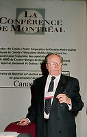 Montreal (Qc) CANADA - May 29 1999<br /> -File Photo -<br /> Gaston Thorn at the 1999 Conference of Montreal.<br /> <br /> Gaston Egmond Thorn (September 3, 1928 – August 26, 2007) was a Luxembourg politician who served in a number of high-profile positions, both domestically and internationally. Amongst the posts that he held were Prime Minister of Luxembourg (1974–79), President of the United Nations General Assembly (1975), and President of the European Commission (1981–85).
