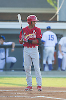 Oscar Mercado (4) of the Johnson City Cardinals steps up to the plate during the game against the Burlington Royals at Burlington Athletic Park on July 14, 2014 in Burlington, North Carolina.  The Cardinals defeated the Royals 9-4.  (Brian Westerholt/Four Seam Images)