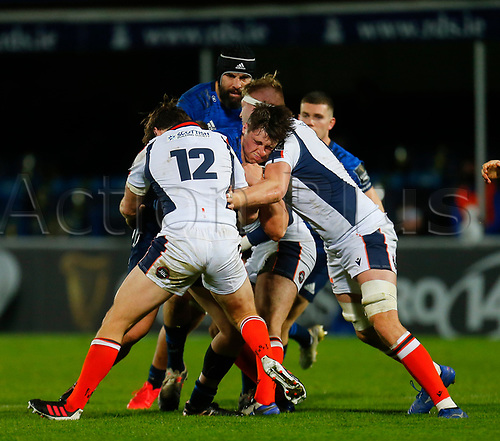 16th November 2020; RDS Arena, Dublin, Leinster, Ireland; Guinness Pro 14 Rugby, Leinster versus Edinburgh; Dan Sheehan of Leinster is tackled by Chris Dean of Edinburgh