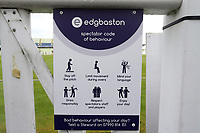 Spectator code of behaviour signage ahead of Warwickshire CCC vs Essex CCC, Specsavers County Championship Division 1 Cricket at Edgbaston Stadium on 10th September 2019