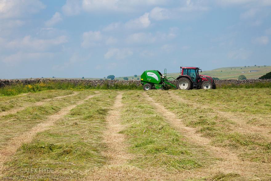 Hay cutting, Peak District National Park, Derbyshire, UK. July.
